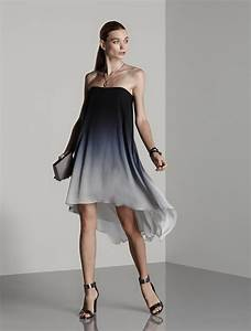 Halston strapless ombre chiffon dress in gray mist tonal for Petites robes pas chères