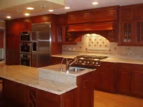 Kitchen Backsplash Ideas Dark Cherry Cabinets by Ivory Backsplash With Cherry Cabinets Coffee Machine