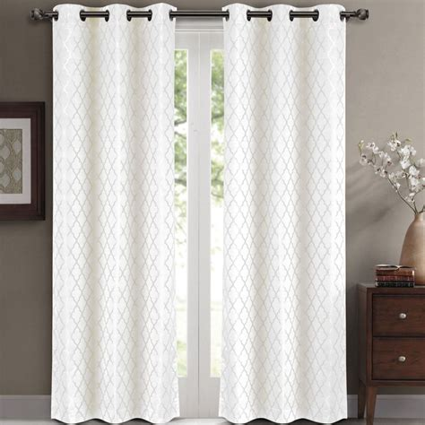 white blackout curtains grommet luxury bedding willow jacquard white grommet