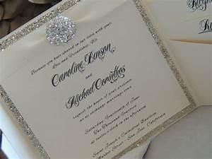 Glitter brooch pocket wedding invitation for Glitter wedding invitations online