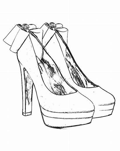 Coloring Heel Kleurplaten Shoe Adult Pumps Sketch