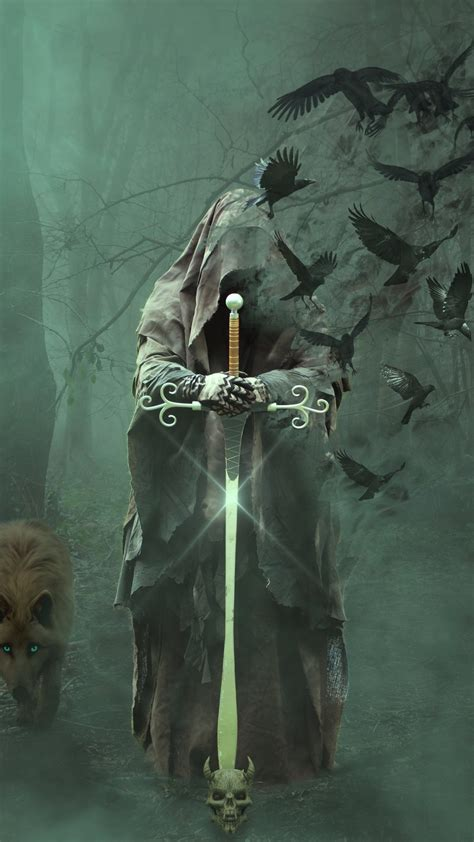 Download 1440x2560 wallpaper magician, warrior with sword ...