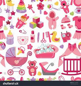 Cute newborn seamless patternflat icons set stock vector