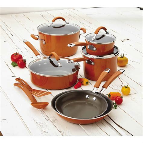 cookware rachael ray nonstick enamel cucina piece hard walmart orange glass pots stoves pans checker inventory induction save