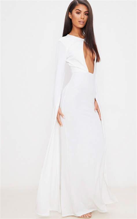 draped sleeve dress white cut out detail drape sleeve maxi dress