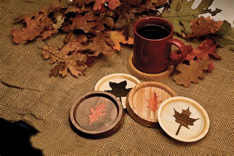 autumn leaves coasters scroll  woodworking crafts