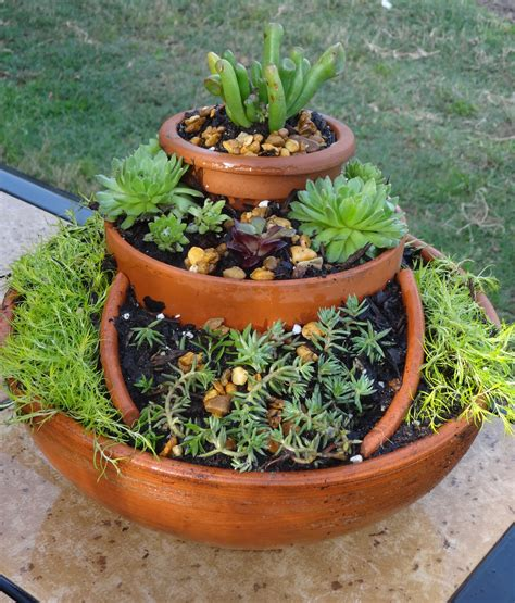 succulent gardens in pots garden made out of broken pots i used succulents moss potting soil in the garden