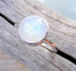 Faceted Rainbow Moonstone Ring in Recycled Sterling Silver