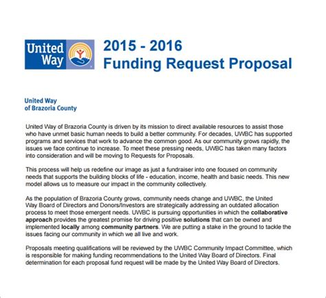 funding proposal templates   word
