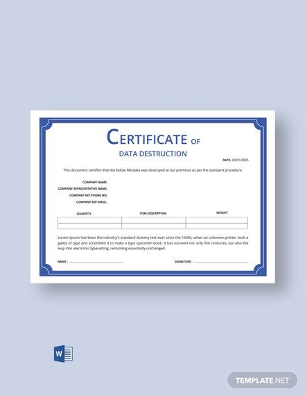 certificate  destruction template word psd
