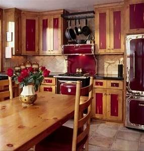 Like the warmth home pinterest kitchens red for Kitchen colors with white cabinets with metal wall art red