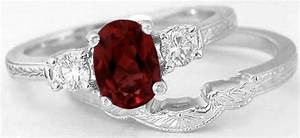 Garnet Engagement Ring And Wedding Band With Engraving In