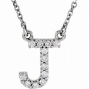 14kt white gold letter j 1 8 ct diamond 16in necklace With letter j necklace white gold