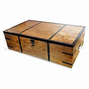 Atlantic rustic wood trunk storage box coffee table buy for Outdoor trunk coffee table
