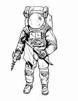 Astronaut Drawing Coloring Pages Suit Space Spaceman Printable Tattoo Draw Sketch Line Illustrations Simple Moon Drawings Suits Drawn Astronauts Getdrawings sketch template