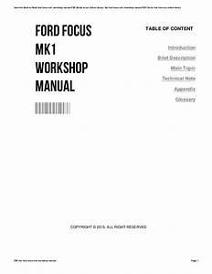 2004 Ford Focus Workshop Manual Free Download