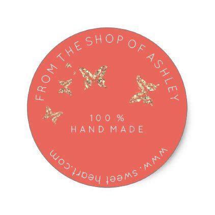 handmade logo   web peach butterflies gold classic