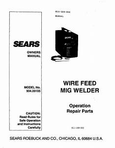 Craftsman 93420105 User Manual Welder Manuals And Guides