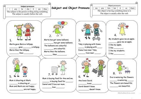 subject pronouns  kids worksheets worksheets