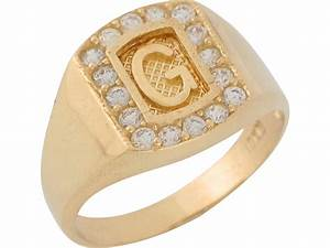 10k 14k yellow gold white cz block letter g initial mens With letter g ring