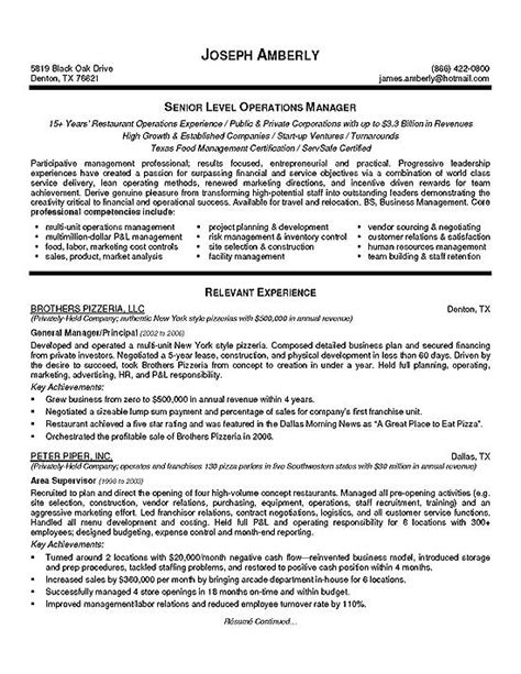 Resume Exles For Managers by Operations Manager Resume Exle Resume Exles