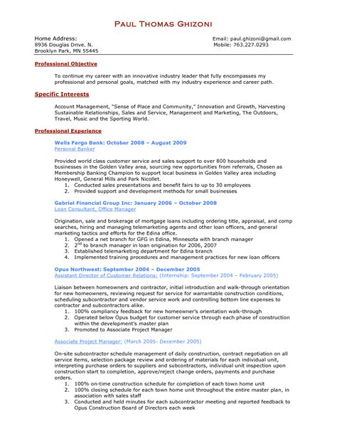 personal banker resume sle best template collection