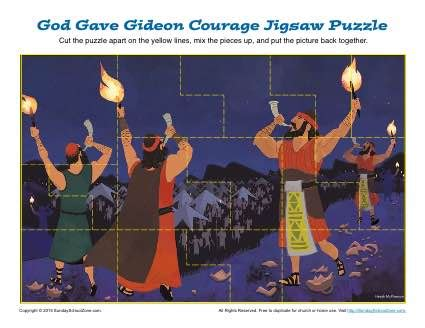 god gave gideon courage jigsaw puzzle childrens bible