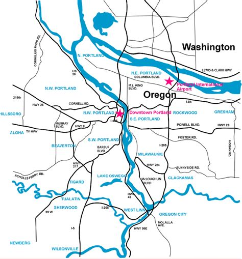 portland area maps  commute times