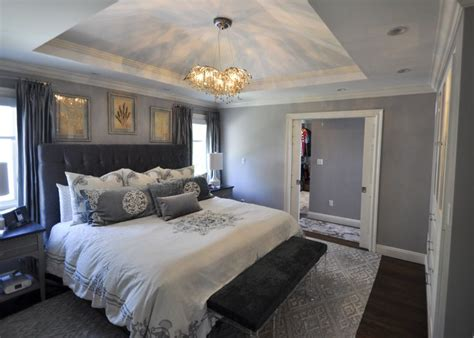 master bedroom  stepped soffit ceiling  solid crown details  rear addition allowed