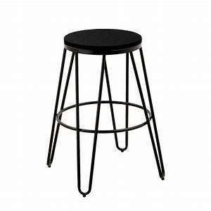 Tabouret De Bar Noir : tabouret de bar loft noir lot de 2 koya design ~ Melissatoandfro.com Idées de Décoration