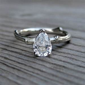 pear shaped white sapphire engagement ring onewedcom With white sapphire wedding rings