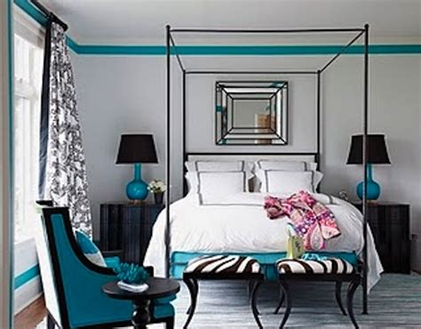 black and turquoise bedroom ideas 0310 coleman 19 de turquoise blavk and white bedroom interior design decor via house beautiful