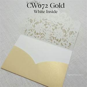z cw072gw gold white inside lasercut pocket wedding With pocket wedding invitations nz