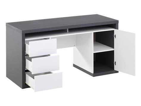 bureau avec rangements bureau igor ii 3 tiroirs 1 porte 1 niche blanc gris