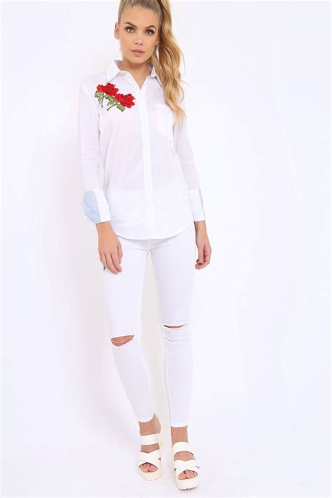 Embroidered Sleeve Shirt white embroidered bell sleeve shirt tamra