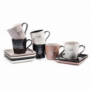 Tasse à Café Maison Du Monde : coffret 6 tasses avec soucoupes en gr s marrons et noires lounge bar maisons du monde ~ Teatrodelosmanantiales.com Idées de Décoration
