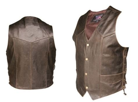motorcycle vest mens retro brown classic buffalo leather motorcycle biker