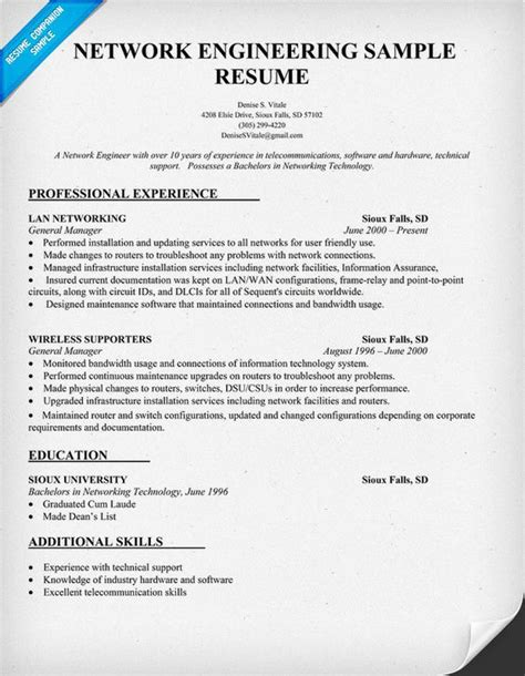 Network Engineer Resume Sles network engineering resume sle resumecompanion