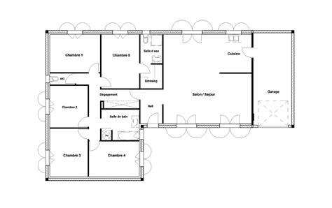 plan maison plain pied 6 chambres plan maison 120m2 plain pied 6 plan maison 5 chambres