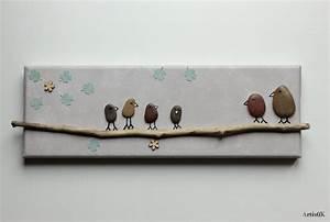 Tableau Enfant Bois : tableau galets oiseaux bois flott couleurs nature d coration famille chambre enfant ~ Teatrodelosmanantiales.com Idées de Décoration