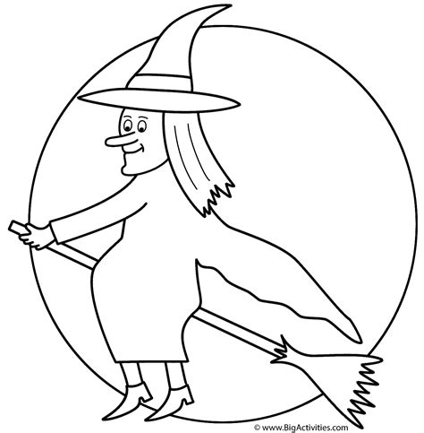witch  broom   moon coloring page halloween