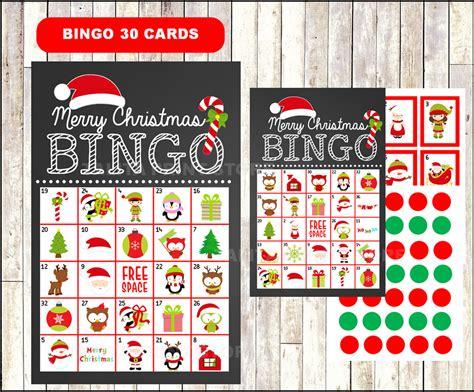 Printable 20 Christmas Bingo Cards Printable Christmas