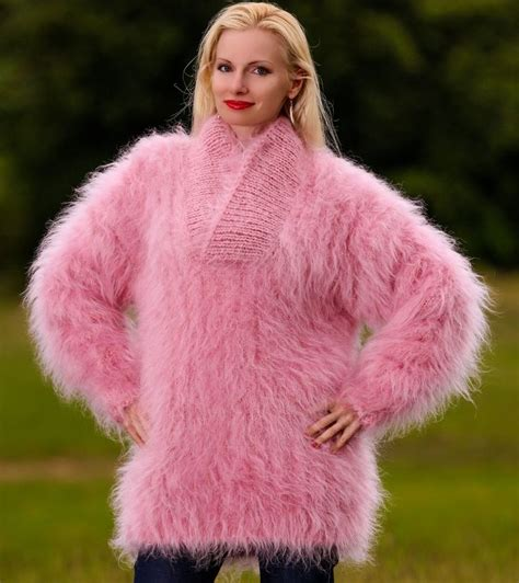 mohair sweater knit mohair sweater shawl collar pink fuzzy