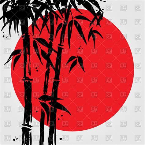 bamboo drawn  black ink  japanese flag vector image