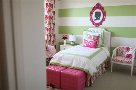 preppy modern pink green girls room project nursery
