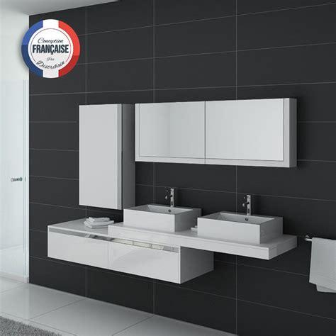 meuble de salle de bain vasque blanc gloss dis9551b distribain