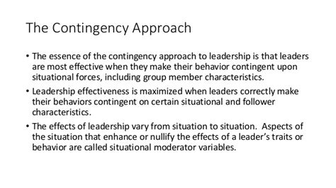 contingency theories situational leadership