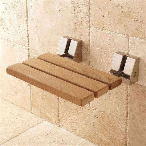 shelf brackets wall mount teak folding shower seat bathroom