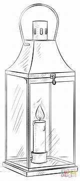 Lantern Coloring Pages Drawing Draw Printable Paper Step Beginners sketch template