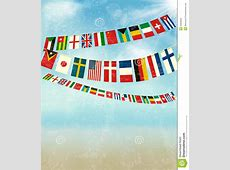 Vintage Background With World Bunting Flags Stock Vector